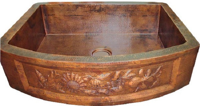 hand fabricated colonial apron copper kitchen sink