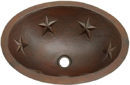 oval copper bathroom sinks with punched stars