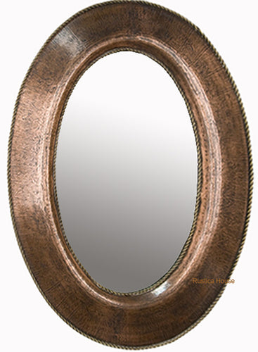 decorative oval copper mirror