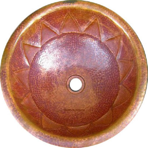 round mexican copper bathroom sink