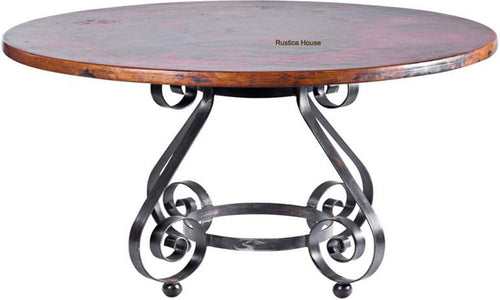 artisan made rustic copper dining table