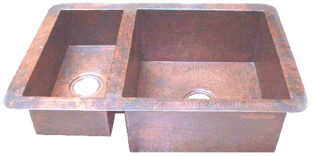 modern undermount drop-in copper kitchen sink