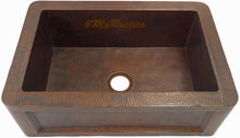 deep apron copper kitchen sink front view