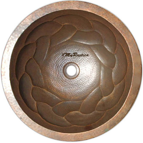 round colonial hammered copper bath sink