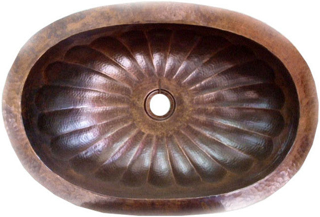 spanish oval copper bathroom sink