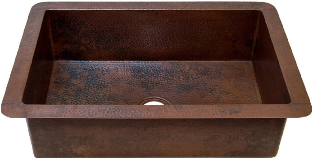 hand hammered colonial undermount drop-in copper kitchen sink