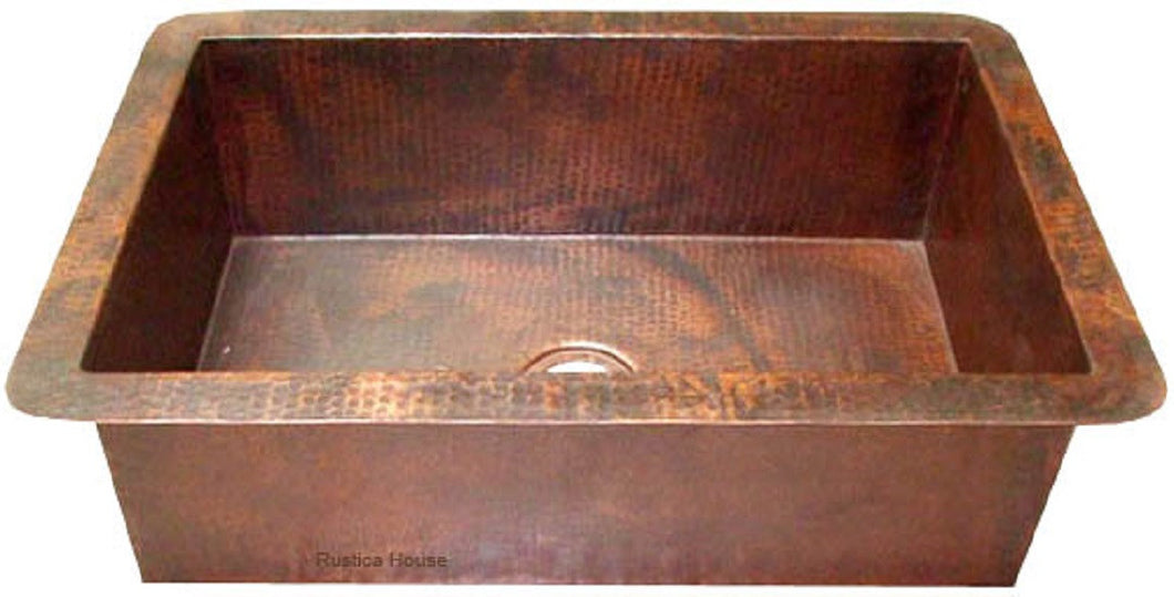 hand hammered copper kitchen sink
