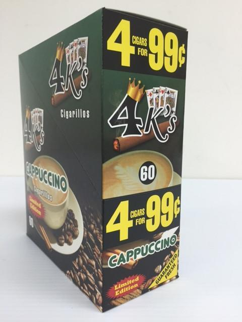 4 KINGS CIGARILLOS 1-60 CIGARS CAPPUCCINO PP 4/99¢