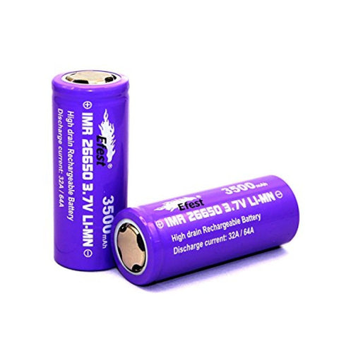 Efest Purple IMR 26650 3500 mAh 3.7V LI-MN Rechargeable Battery , Flat Top , 64 AMP High Drain