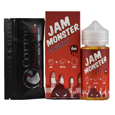 Jam Monster eJuice Strawberry 100mL+ COTTON BACON BITS