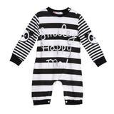 Fashion Casual Baby Boys Girls Long Sleeve Striped Rompers Spring Autumn Letters Print One-piece Romper Jumpsuit Clothes Outfit
