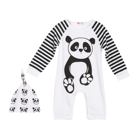 Fashion Baby Boys Girls Panda Print White One-piece Romper Jumpsuit with Hat Set Casual Spring Autumn Long Sleeve Romper Cap