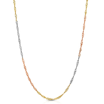 singapre chain three colors tricolor multicolor solid 14 karat 14k jewelry real made in italy chain necklace jewelry