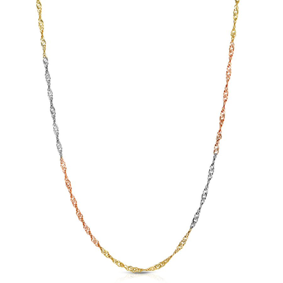 Tri Color Singapore Chain 14K Solid - Saints Gold Co.