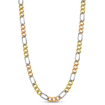14K Tri Color Figaro (Diamond Cut) - Saints Gold Co.