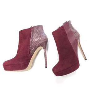 Charles David Burgundy Suede and Snakeskin Heeled Booties - Size 8