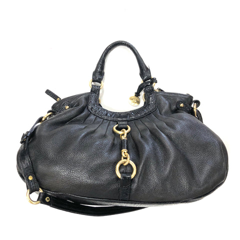 Brahmin Black Leather Crocodile Print Bag