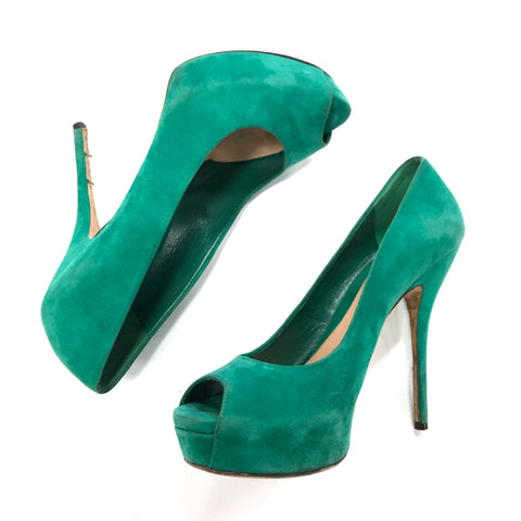 Gucci Green Suede Peep Toe Pumps - Size 38.5