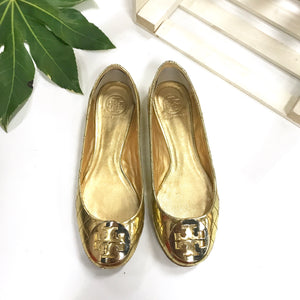 Tory Burch Gold Quilted Flats