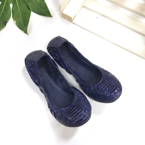 Tory Burch Blue Genuine Snakeskin Flats
