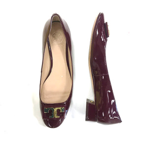 Tory Burch GiGi Burgundy Patent Leather Flats