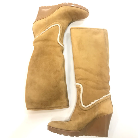 Gucci Suede and Shearling Tall Wedge Boots - Size 9.5