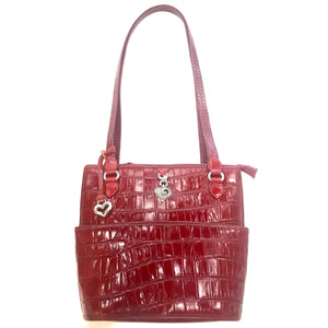 Brighton Red Leather Crocodile Print Shoulder Bag