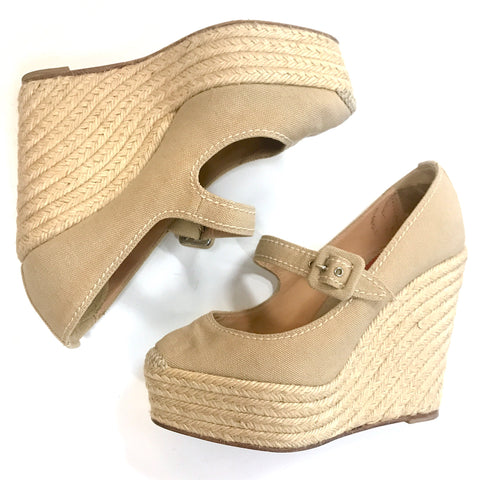Christian Louboutin Canvas Mary-Jane Wedges - Size 38