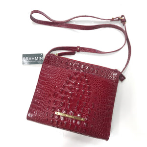 Brahmin NEW Red Leather Crocodile Embossed Crossbody Bag