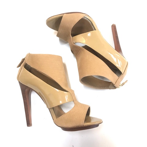 Badgley Mischka Beige Leather Cutout Heels - Size 7.5