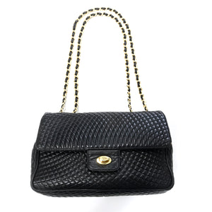 Bally Black Quilted Leather Flap Bag