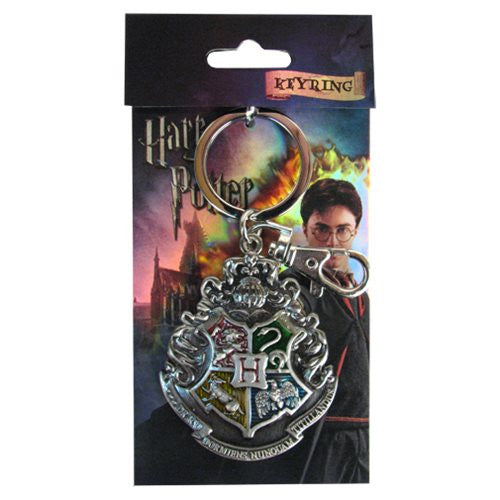 Harry Potter Hogwarts School Crest Pewter Key ring - The Nerd Source Code