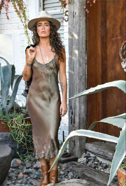 Bias cut Maxi Slip Dress Taupe