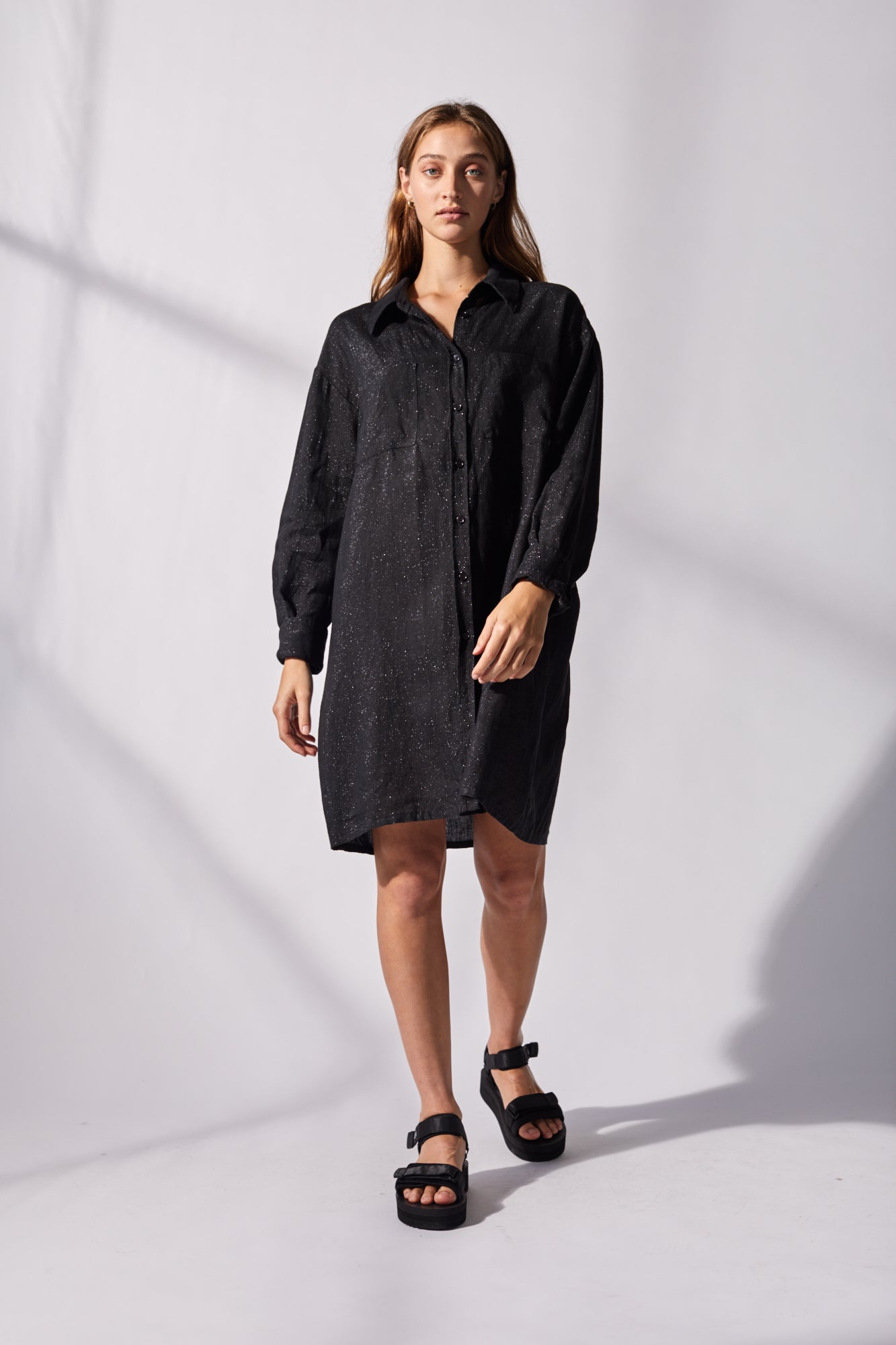 Hint of Spring Sparkle Shirt Dress