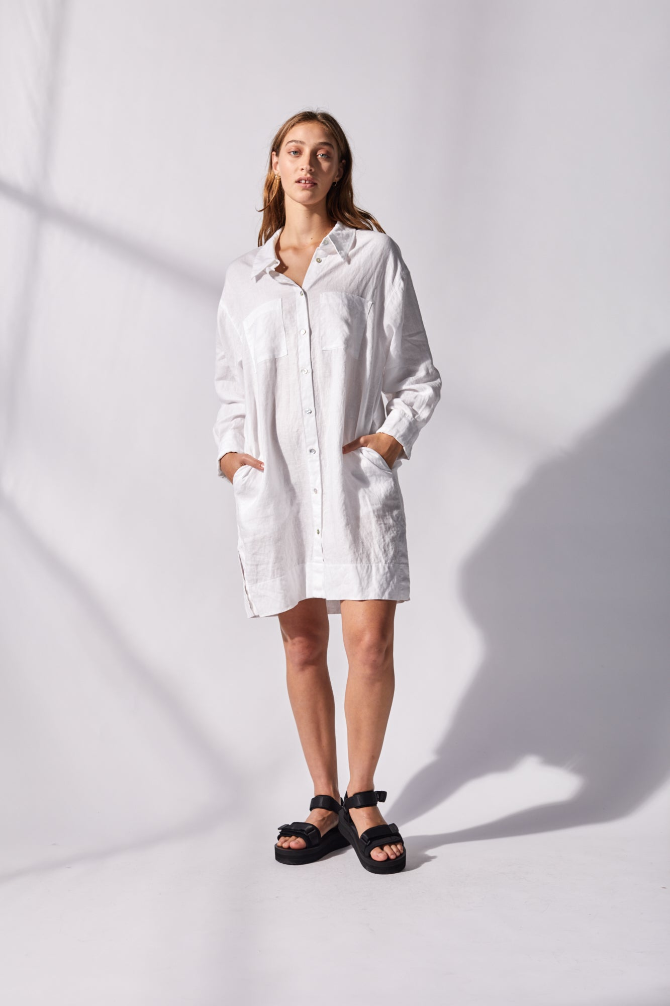 Hint of Spring shirt dress Classic White
