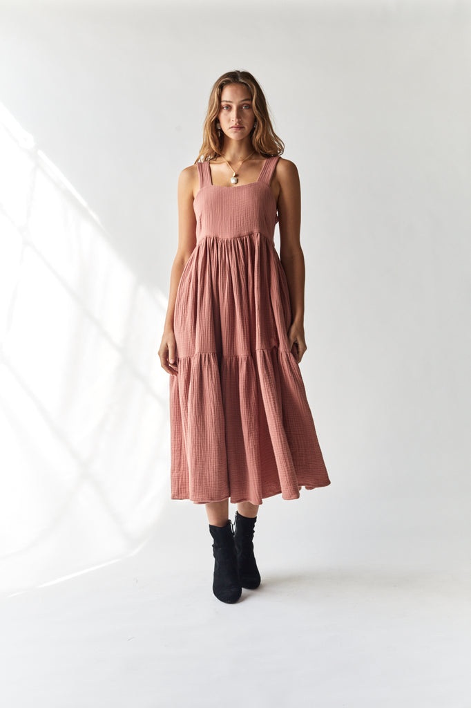 Tiered Maxi Dress 100% Surplus Cotton Musk