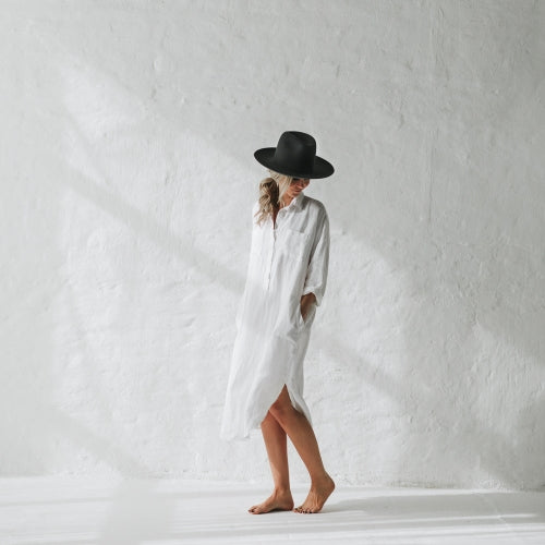 Shirt Dress with Pockets White