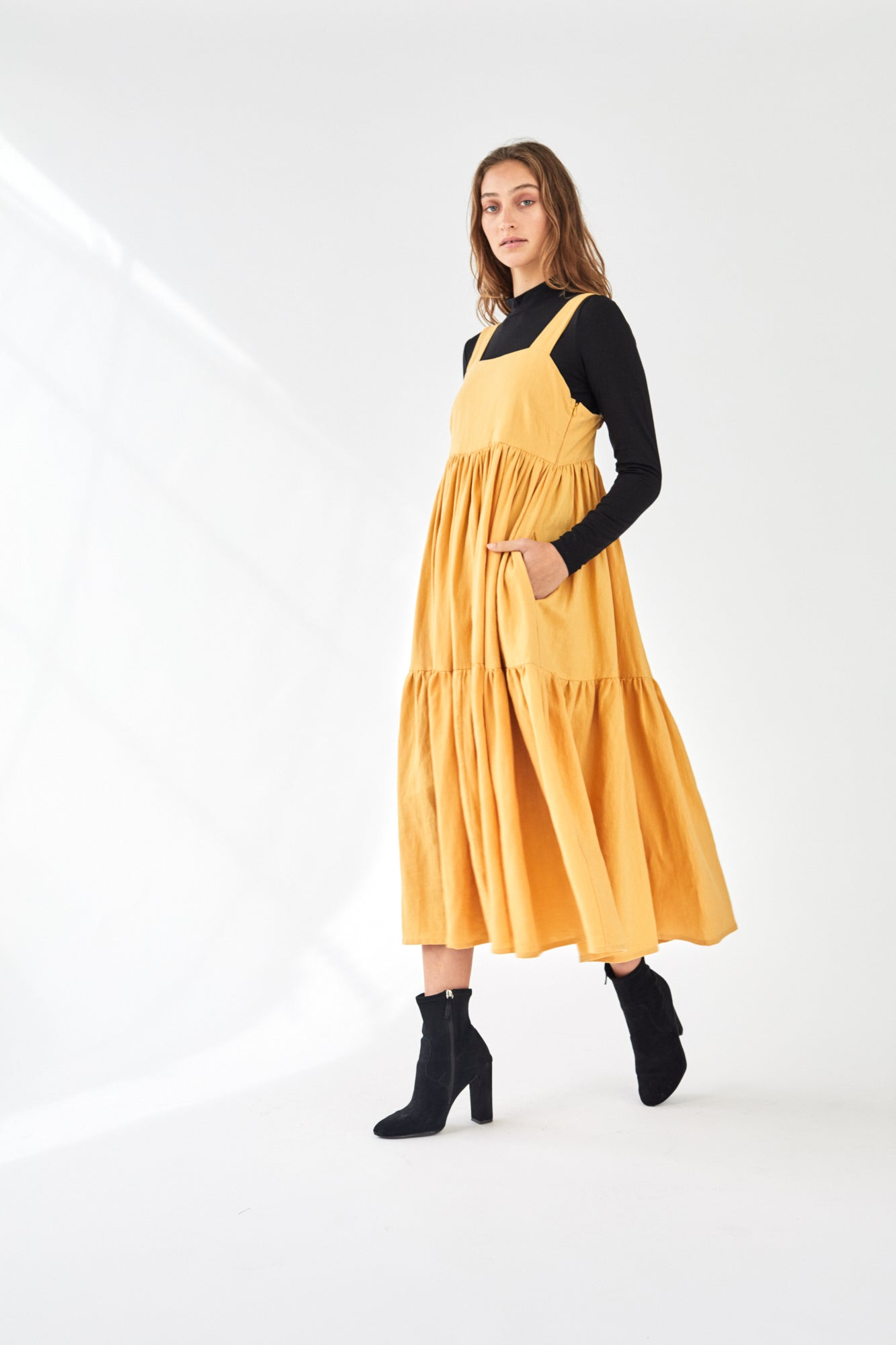 Tiered Maxi Dress 100% Linen Marigold
