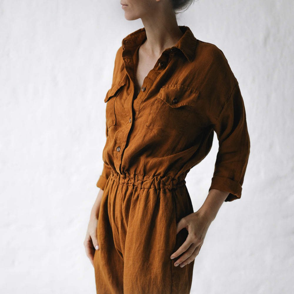 Linen Playsuit Mustard
