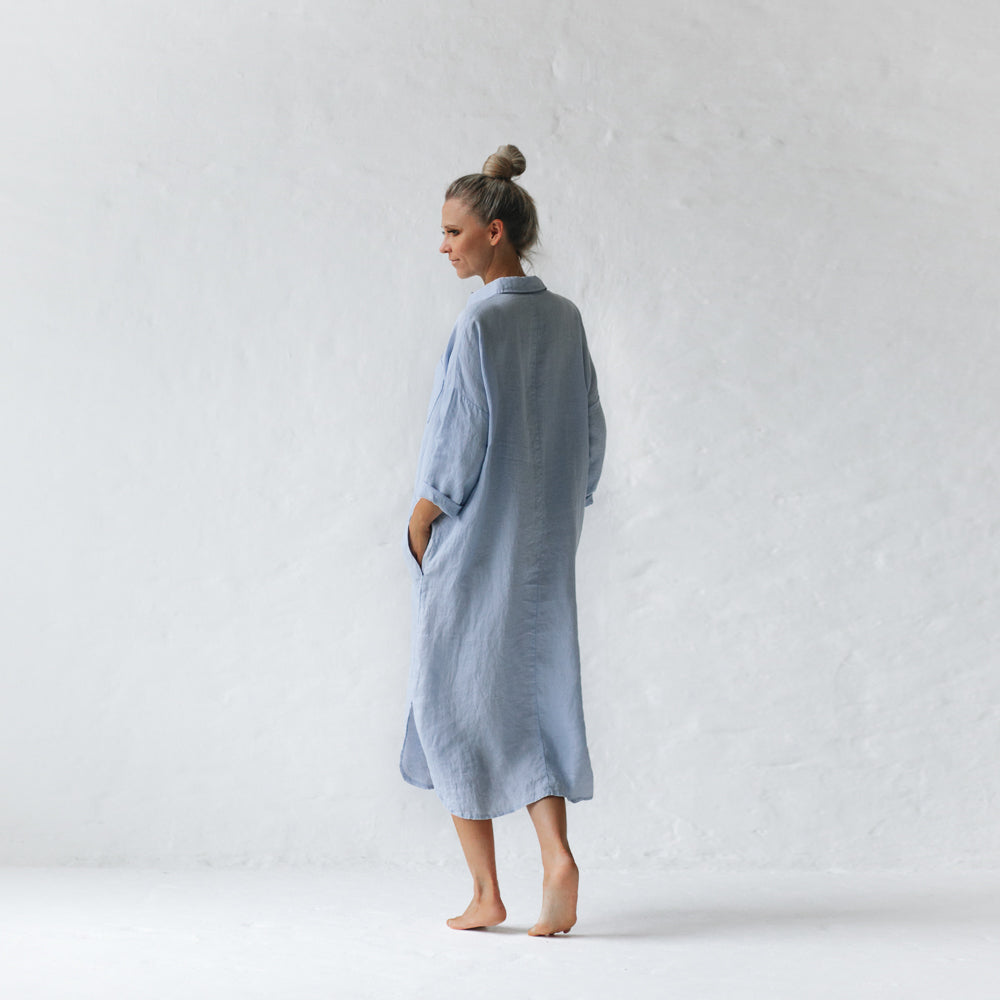 Shirt Dress with Pockets Blue