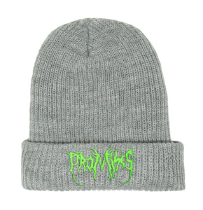 Graveyard Beanie Heather Grey / Neon Green