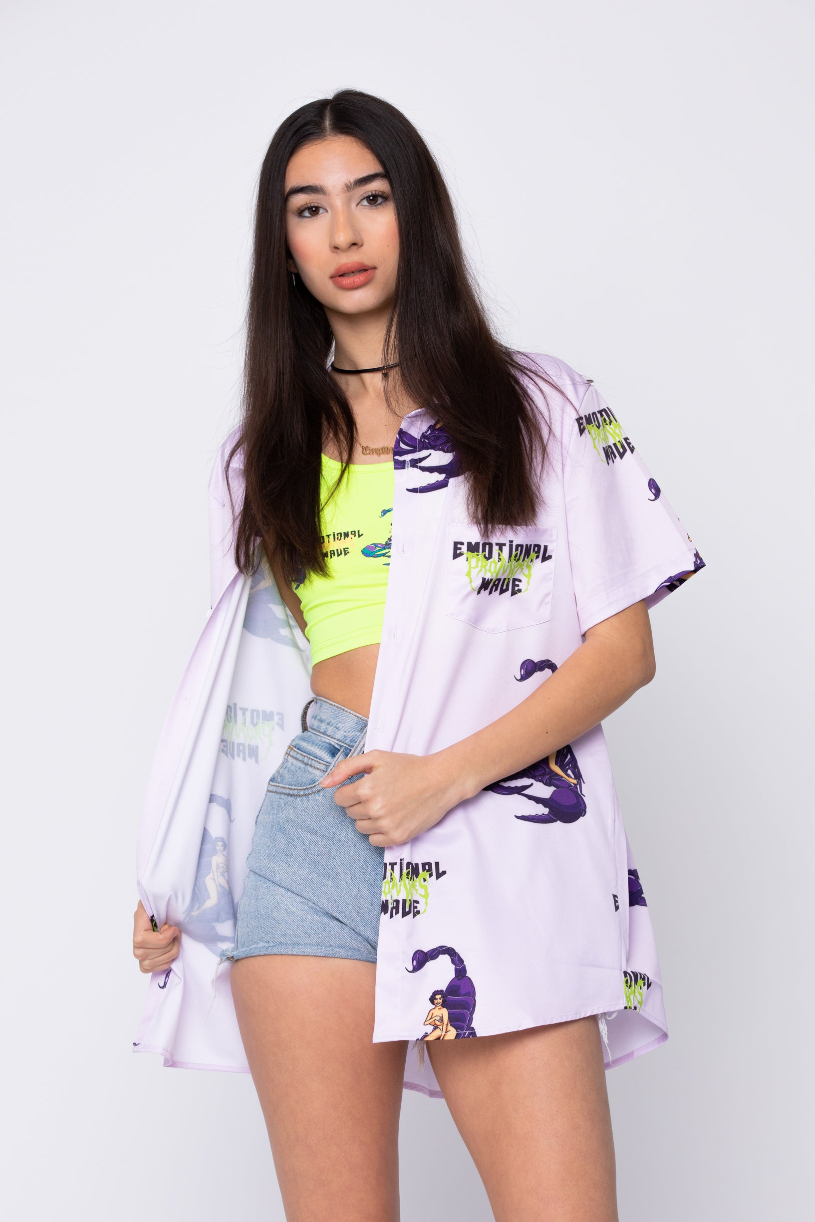 Scorpion Babe Button-Up Shirt Lavender