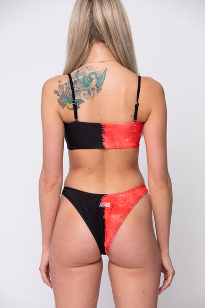 Split High Leg Bottoms Red/Blk