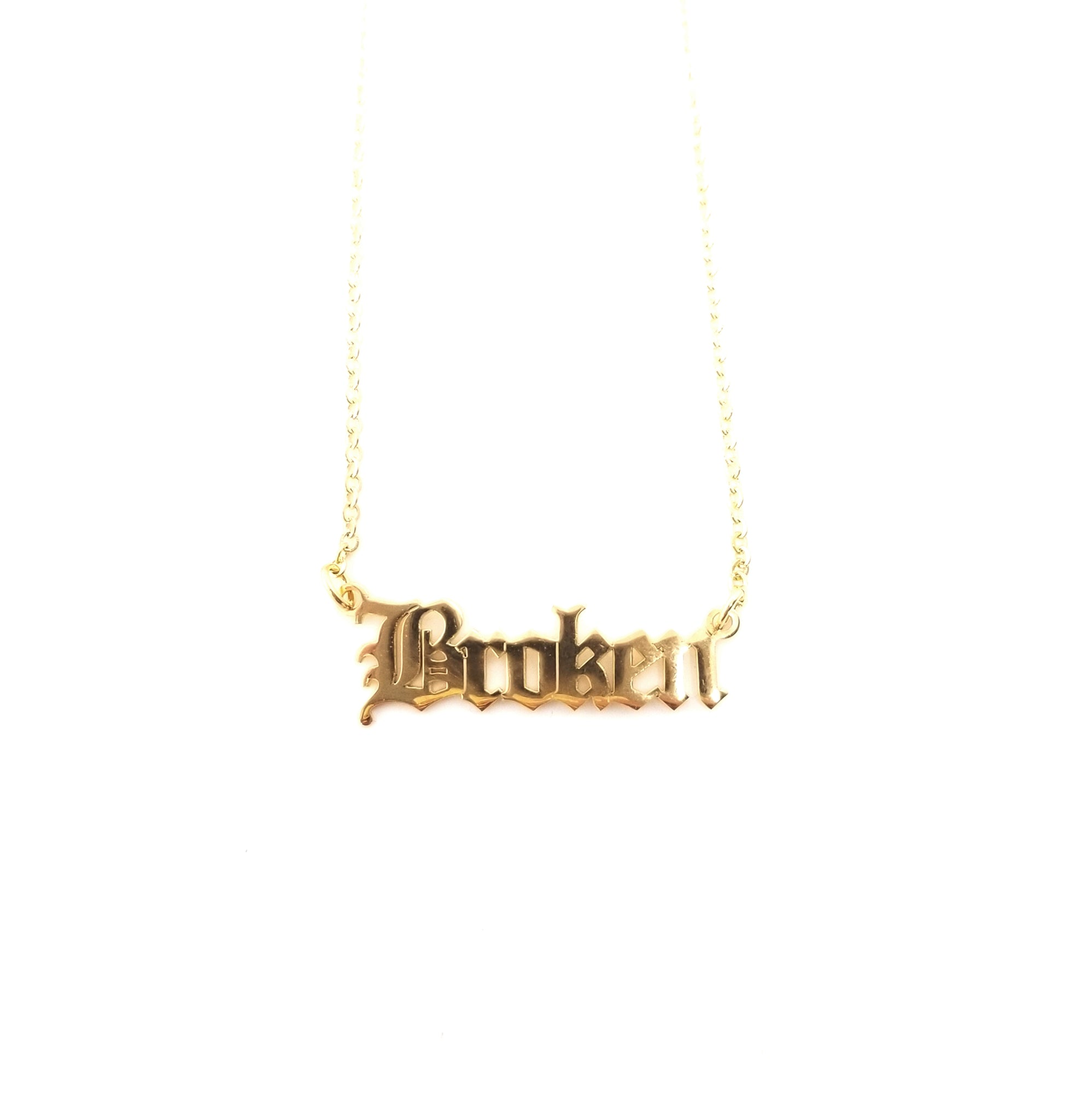 Broken Nameplate Necklace Gold