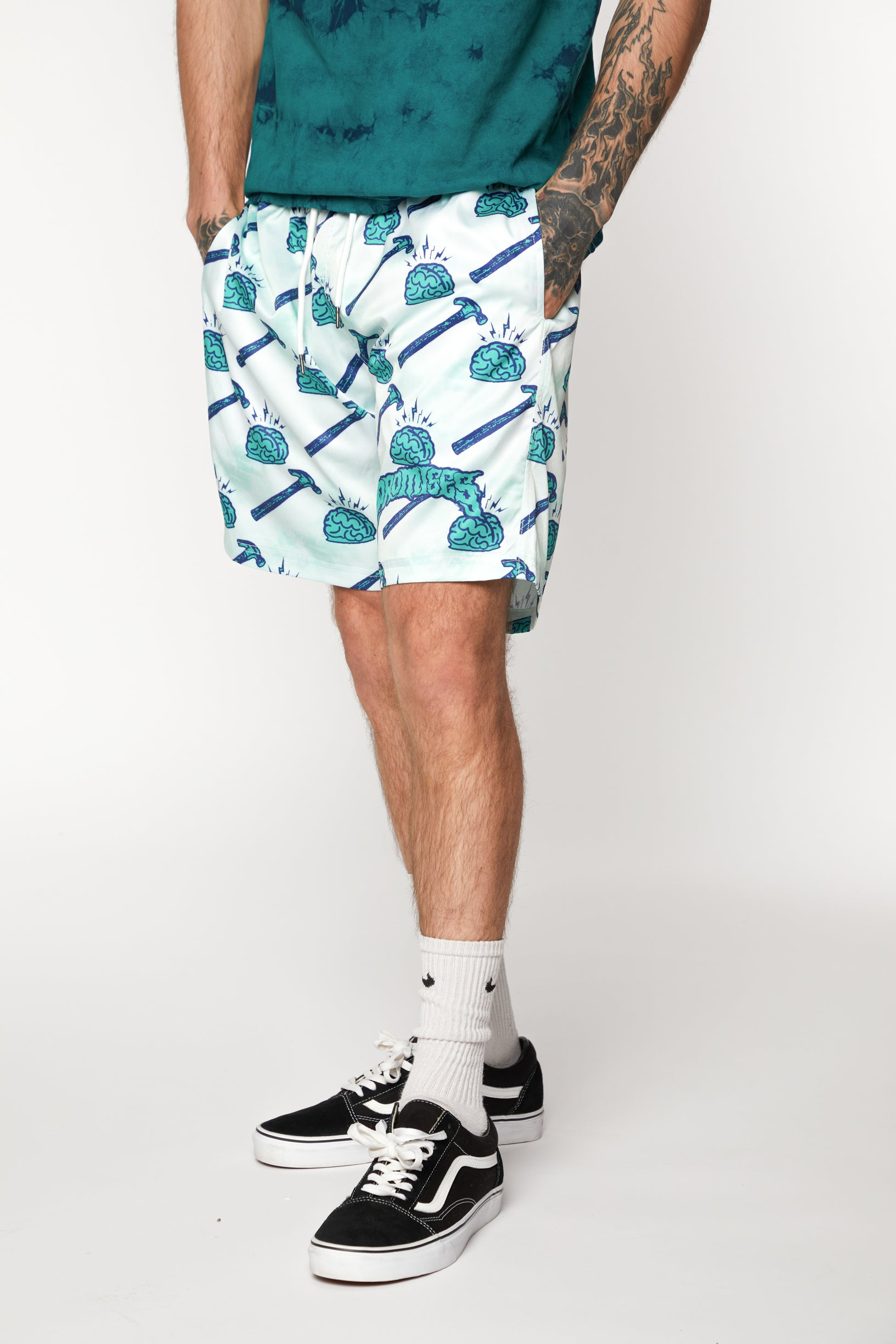 Brain Waves Shorts Green
