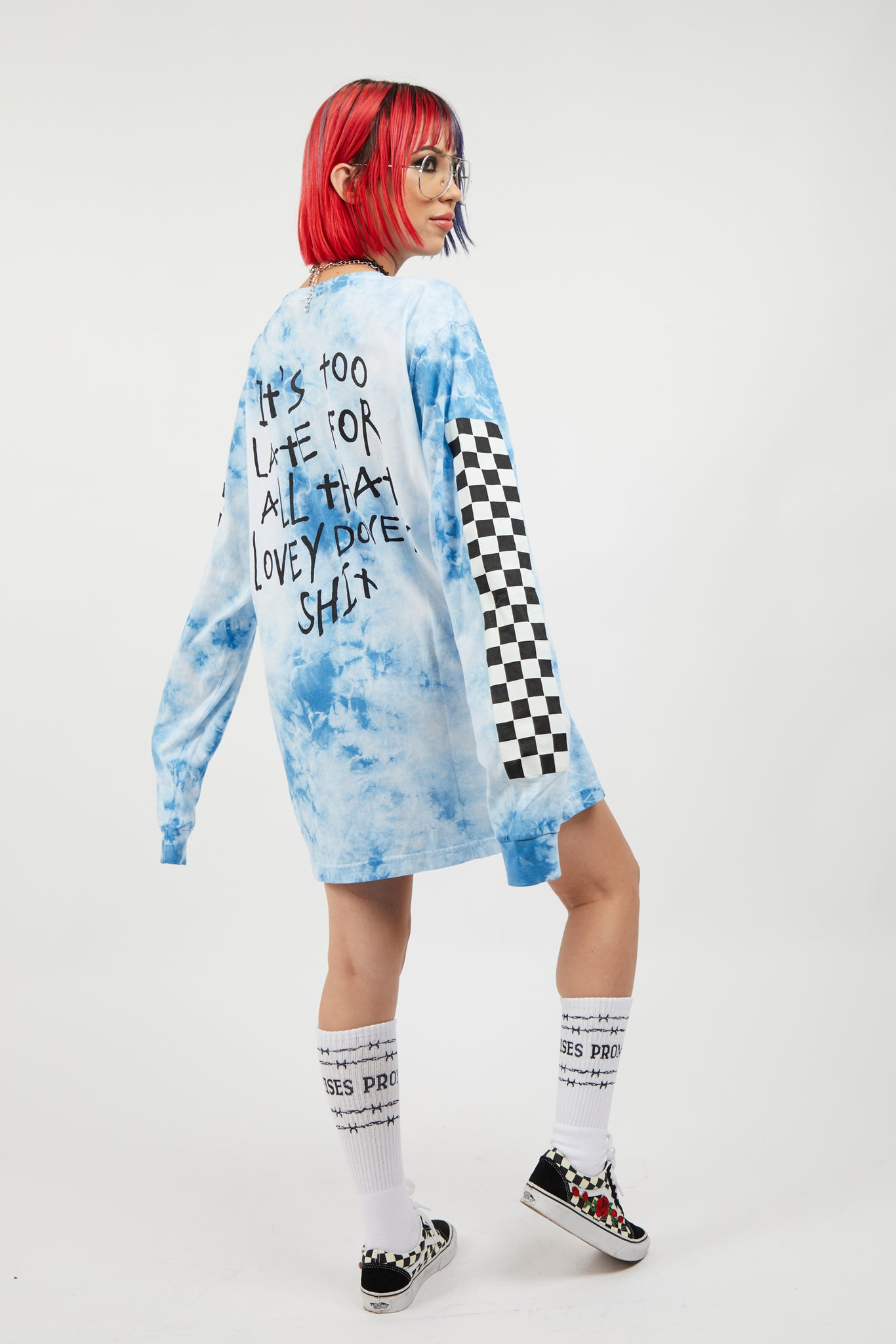 Too Late Tie Dye L/S Blue