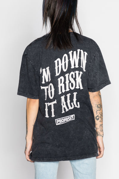 Risk It All Tee Blk Mineral Wash