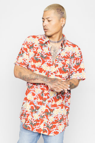 Scorpion Vines Red Button Up Shirt