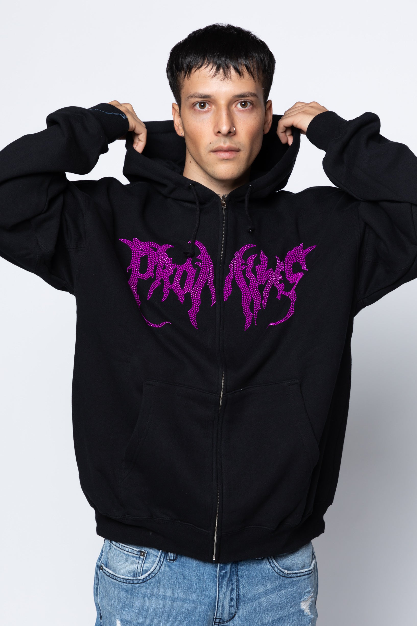 Graveyard Rhinestone Zip Up Purple