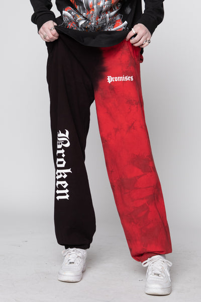 Split Dye Sweatpant Red/Black